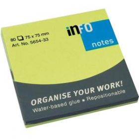 INFO STICKY NOTES GREEN 75X75MM, 80 SHEETS