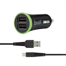BUDI 2 USB CAR CHARGER + MICRO USB CABLE  O61M BLACK